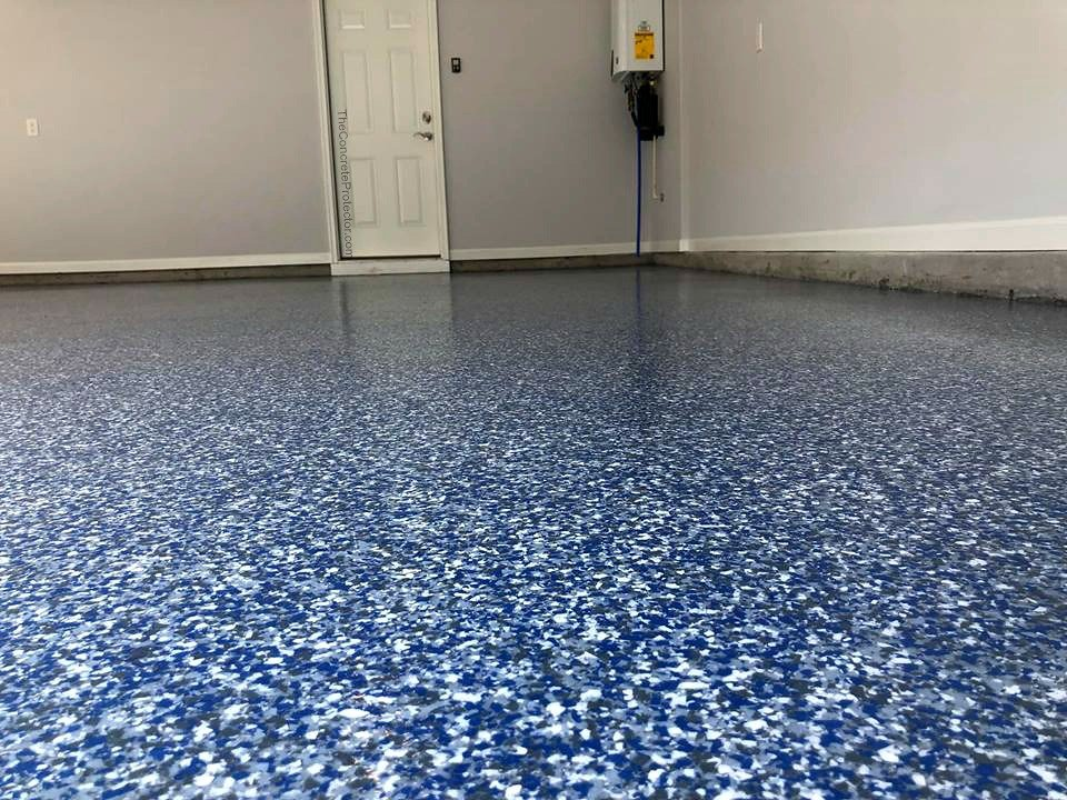 blue epoxy flake floor