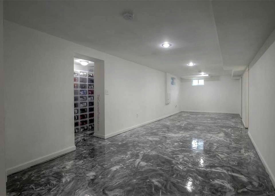 grey metallic epoxy flooring